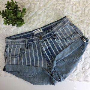One Teaspoon Rocky Stripe Jean Bandits Shorts 28